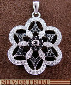 Sterling Silver Jewelry Black And White Cubic Zirconia Pendant NS55981