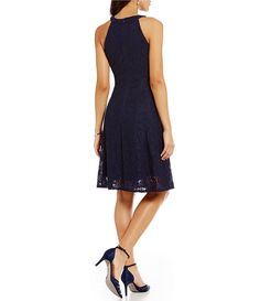 London Times Sleeveless Paisley Lace Halter Fit & Flare Dress