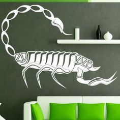 """Style and Apply Scorpio Wall Decal Size: 44"""" H x 59"""" W, Color: Dark Red"""