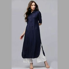 Women Navy Blue Self-Design Pathani Kurta Dresses Uk, Cotton Dresses, Short Dresses, Summer Dresses, Pathani Kurta, Kurta Style, Ethnic Dress, Kurta Designs, Indian Fashion