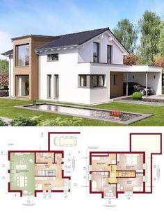 Einfamilienhaus Modern Mit Satteldach Architektur U0026 Design Carport   Haus  Bauen Grundriss Fertighaus Edition 4 V2