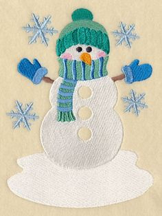 Machine Embroidery Projects Machine Embroidery Designs at Embroidery Library! Machine Embroidery Projects, Machine Embroidery Applique, Learn Embroidery, Embroidery Stitches, Hand Embroidery, Embroidery Ideas, Applique Ideas, Snowman Quilt, Learning To Embroider