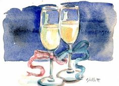 Champagne glasses - watercolor painting by Carol Gillit