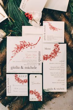 holiday themed invitations, photo by Sara D'Ambra Photography http://ruffledblog.com/an-italian-christmas-wedding-scene #weddinginvitations #stationery