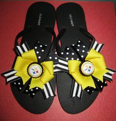 Pittsburgh Steelers Bow Flip Flops by laceeeyb88 on Etsy, $10.00