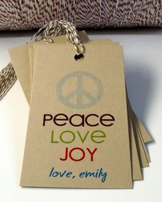 PEACE LOVE JOY Christmas Tags or Package Labels by Scrap Bits.
