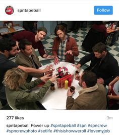Why is Richard Speight there?<<< he directed the episode Spn tape ball Winchester Boys, Winchester Brothers, Jensen Ackles, Richard Speight, Supernatural Actors, Gifs, Crazy People, Misha Collins, Destiel