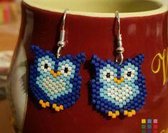 Barn Owl Beaded Earrings Handmade Brick by WyomingBeadsNSuch