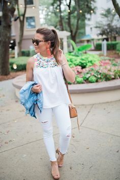 Summer Style Inspiration via Glitter & Gingham / J. Crew Factory Embroidered Tank / Abercrombie & Fitch Jeans / Rebecca Minkoff Tassel Bag / Lisi Lerch Tassel Earrings / All White Summer Outfit