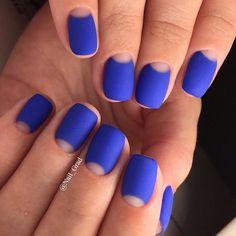 Accurate nails, Beautiful moon nails, Blue matte nails, Evening dress nails, Matte nails, Moon nails 2017, Plain nails, Shades of blue nails