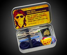 Action Hero Toolkit - iFixit - What Would MacGyver Do? Back In The 90s, Altoids Tins, Mens Gear, Rubber Bands, Duct Tape, White Elephant Gifts, Elephant Party, Gag Gifts, Funny Gifts