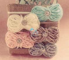 Baby bow headbands, shabby chic collection