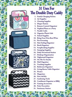 31 Uses for the Double Duty Caddy Like my Page on FB: https://www.facebook.com/SherriMartin