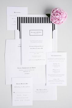 Looking to make a statement? Our modern black and white striped wedding invitations are perfect! These classic wedding invites have a monogram featuring contemporary lines!