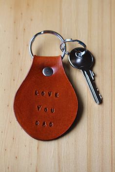Handmade Love You Dad Leather Keychain by Tina's Leather Crafts on Etsy.com.  Repin To Remember.
