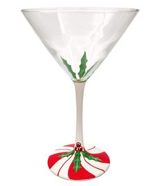 Peppermint Candy Cane, Christmas Candy, Christmas Decorations, Holiday, Hand Painted Wine Glasses, Good Spirits, Holly Berries, Wine Gifts, Martini