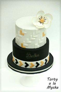Modern masculine cake black white gold