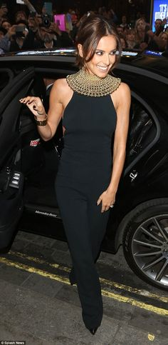 Cheryl Fernandez-Versini.. Narciso Rodriguez open back jumpsuit, with Rosantica Mille Bolle Gold-Tone Choker..