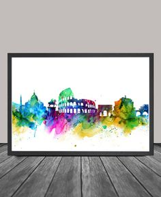 Rome City Skyline Rome Cityscape Rome Print by FineArtCenter