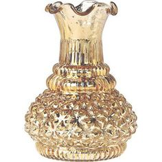 Gold Mercury Glass Vase (ruffled genie design).  4.25 inches wide x 5.75 inches high. The vintage metallic finish of this gold mercury glass vase is reflective and shimmery. Perfect for weddings! Not for food use.