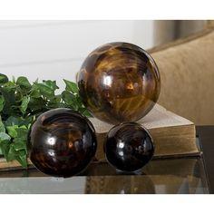 Kameko Glass Spheres, Set of 3 - contemporary - Decorative Objects And Figurines - Fratantoni Lifestyles Contemporary Decorative Objects, Decorative Spheres, Hudson Furniture, World Decor, Tuscan House, Tuscan Decorating, Decorating Ideas, Tuscan Style, Amber Glass