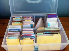 Project Life organization in a Close To My Heart medium storage box from Arnprior Scrapper.