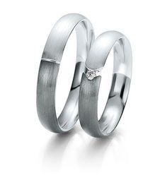 Breuning Trouwringen | black&white gouden ringen | 4mm briljant 0.03ct verkrijgbaar in 8,14 en 18 karaat | 48061090 / 48061100 #trouwringen #breuning #breuningtrouwringen #jdbw #trouwen #ringen #diamant #goud