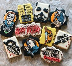 Do you believe in the boogeyman? Scary Halloween Cookies, Halloween Birthday Cakes, Halloween Cookies Decorated, Scary Halloween Decorations, Halloween Desserts, Halloween Treats, Spooky Scary, Decorated Cookies, 30th Birthday