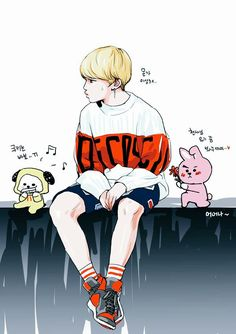 Jimin with Chimmy and Cooky Bts Jimin, Bts Bangtan Boy, Jimin Fanart, Kpop Fanart, Bts Chibi, Fan Art, K Pop, Bts Anime, Kpop Drawings