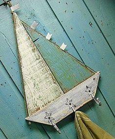 Sailboat Hook Rack Nautical Beach House Decor Coastal Living by CastawaysHall Pallet Crafts, Pallet Art, Wood Crafts, Into The Woods, Articles En Bois, Deco Marine, Wooden Sailboat, Coastal Decor, Coastal Living