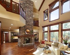 Grand double sided fireplace.