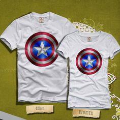 817e89f5 Captain America Logo Couples Tshirt Superhero Couples by KINCOTAN
