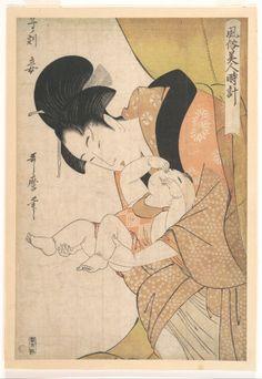 Midnight: Mother and Sleepy Child  Kitagawa Utamaro, 1790, polychrome woodblock print; ink and color on paper, 36.5 x 24.4 cm.