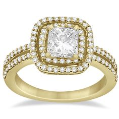 Double Halo Diamond Square Engagement Ring 14K Yellow Gold (0.50ct)-Allurez.com