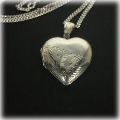 Silver Locket Sterling Silver Heart Locket by JunkboxTreasures