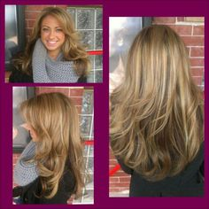 Color and style by Ondrea! She originally went to Ondrea in December with brown hair... Can you say a healthy transition back to blonde?