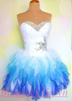 Lovely Sweetheart Sleeveless Short Homecoming Dress With Ruffles Beadings White Royal Blue Prom Gowns