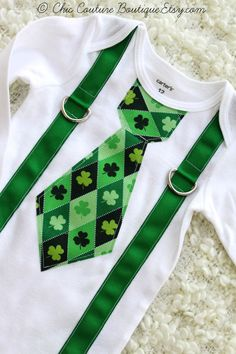 Lucky Baby! Saint Patricks Day tie onesie and suspenders for Baby Boy!