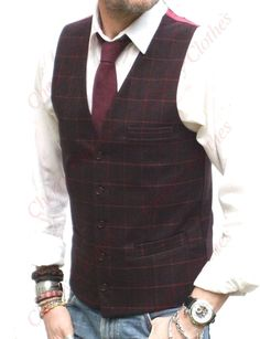 Red Burgundy, Burgundy Wine, Fashion 2020, Men's Fashion, Grey Slim Fit Suit, Tweed Vest, Men's Waistcoat, Stylish Mens Outfits, Dani