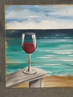 Pallet wood beach Red Wine painting pallet ocean wall art by TheWhiteBirchStudio Painting On Pallet Wood, Wine Painting, Summer Painting, Pallet Art, Wine And Canvas, Wine Art, Paint And Sip, Beach Wall Art, Unique Wall Art