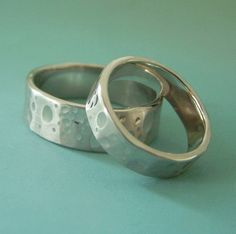 14k Palladium White Gold Wedding Ring Set of Two - Shoreline - Recycled Gold. $1,320.00, via Etsy.