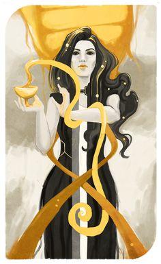 Miranda Lawson fan art, Dragon Age companion tarot card. Mass Effect