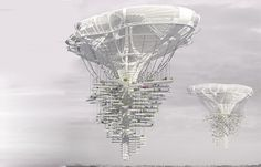 Buildings in the Sky! Floating mushroom skyscraper building idea to help clear the smog-choked city of beijing with possible polution eating bacteria and allowing more living space inside the city. Uses helium or hydrogen, solarpowered turbines and atmospheric pressure.
