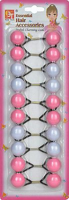 Pink And White Elastic Ponytail Holder  Bead Girl Hair Scrunchie Knocker Ball