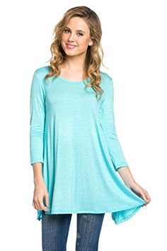 $ 7.99 Frumos Womens Tunic 3/4 Sleeve Round Neck Solid Tie Dye Tunic Top.Color : Aqua BlueTunic Top Perfect for Casual,Normal,Everyday,Party.This is a beautiful,cute and amazing top available at very cheap prices.Will be available in various colors and sizes.This can be worn during winters.fall,summer,spring