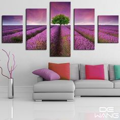 5 Pieces Canvas Wall Art Painting Romantic Lavender Sea Classical Landscape Tree Wall Pictures For Living Room Modular Pictures