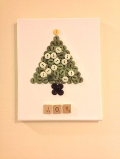 Christmas Button Tree and Scrabble Tile Joy Sign by RecycleMonster, $12.00