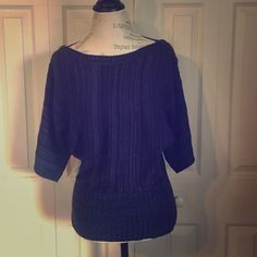 Dolan sleeve sweater Super cute navy blue dolman sleeved sweater with button detailing on the sleeve. Boat neck. Fits true to size and only slightly worn. Great for the coming cold weather! Love Always Sweaters