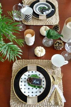 Natural black and gold Thanksgiving Table with chalk name tags | Honey We're Home