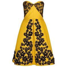 Oscar de la Renta Floral Appliqué Cocktail Dress ($8,340) ❤ liked on Polyvore featuring dresses, yellow cocktail dress, sweetheart cocktail dress, strapless cocktail dress, sweetheart neckline cocktail dress and evening dresses